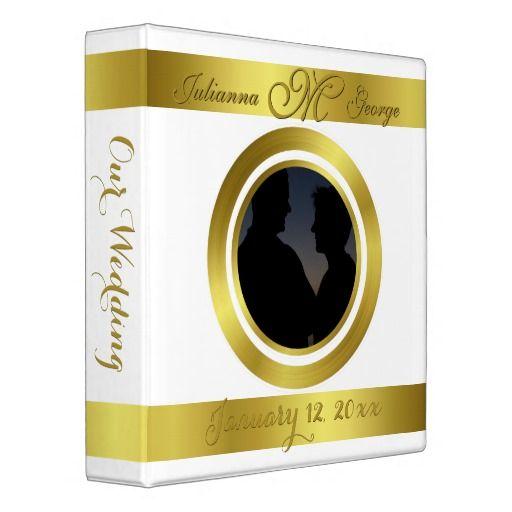 Modern Elegant Gold Foil Design Photo Wedding Binders