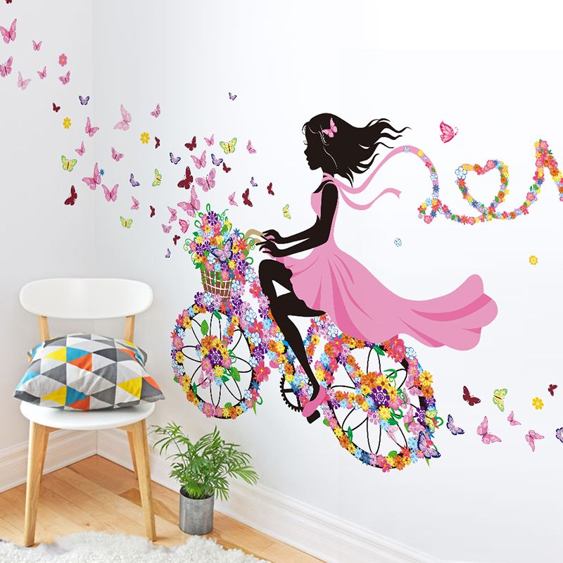 shijuehezi butterflies bicycle girl wall stickers vinyl on wall stickers for kids id=85549