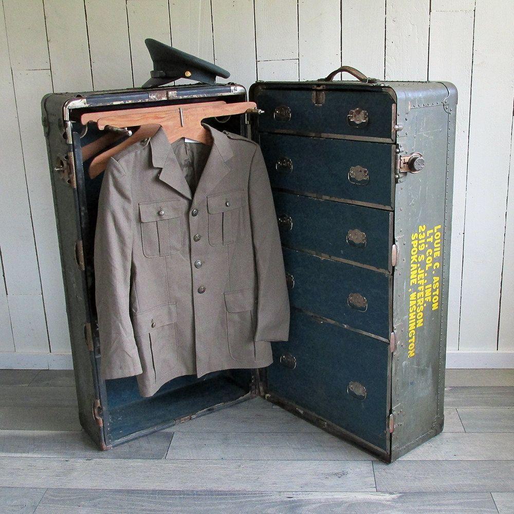 High Quality WWII Officeru0027s Wardrobe Trunk   Steamer Trunk   War Trunk   Wheary Trunk  Co. By