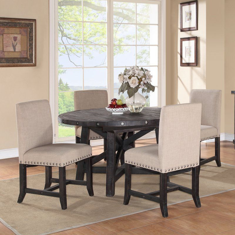 Modus Round Yosemite 5 Piece Round Dining Table Set With Cool Dining Room Upholstered Chairs Decorating Inspiration