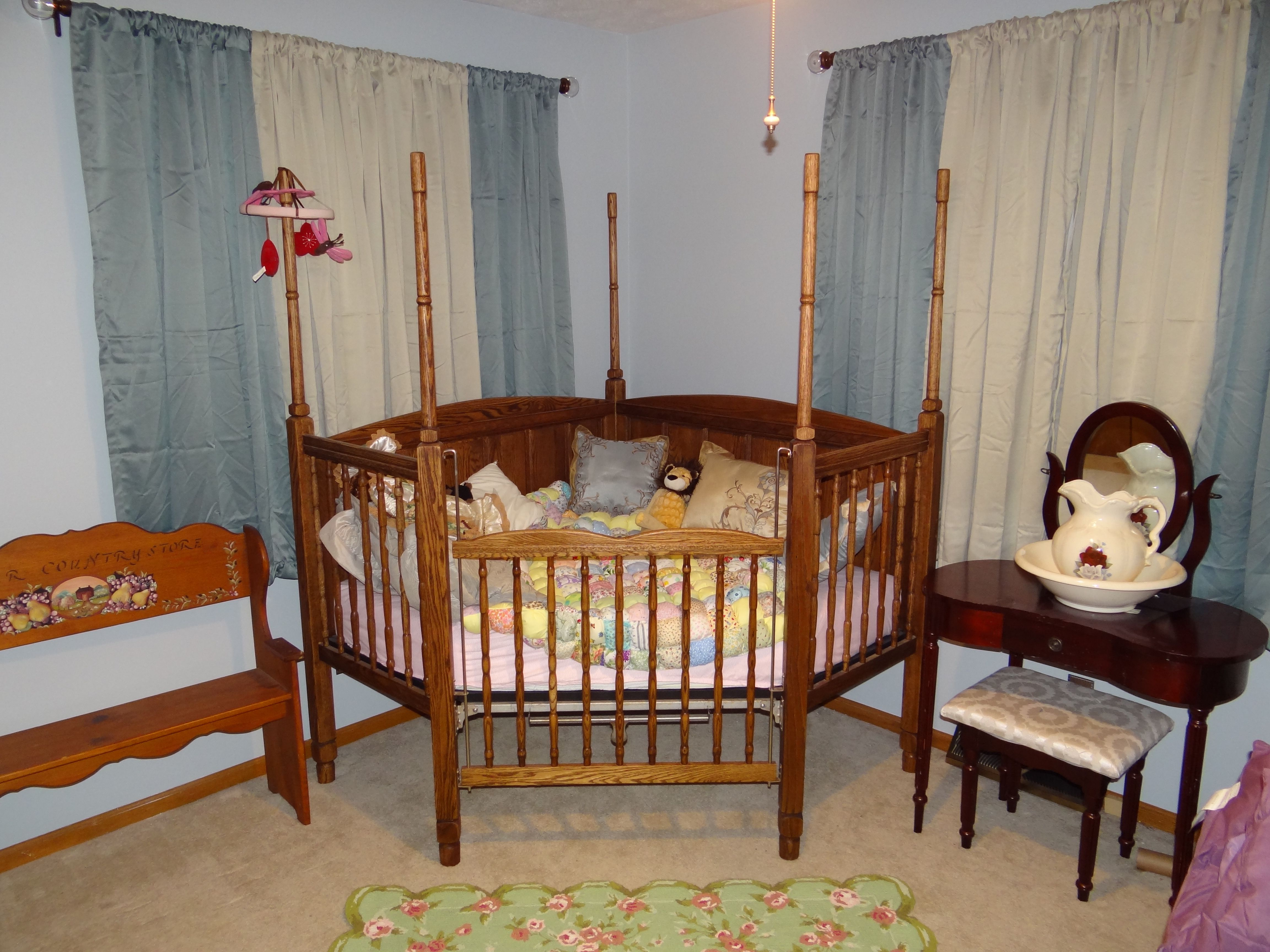 Crib In Corner Draped Fabric Baby Girl Bedroom Baby Girl Room