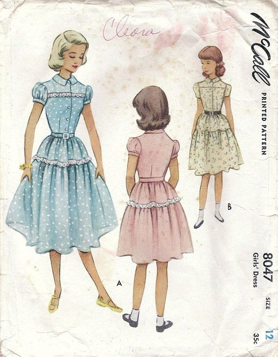 1950s McCall 8047 Vintage Sewing Pattern Girls Full Skirt Party ...