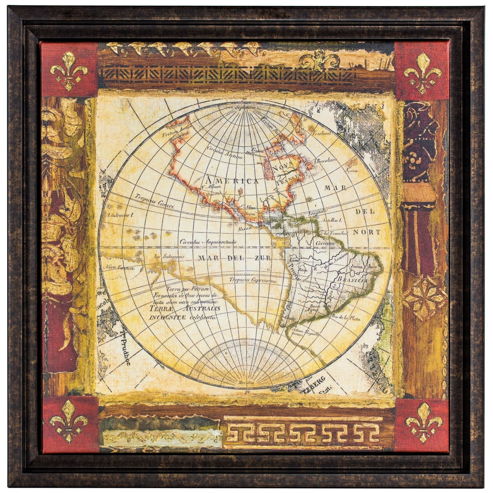 Corners of the Earth Detail II Framed World Map Wrapped Canvas ...