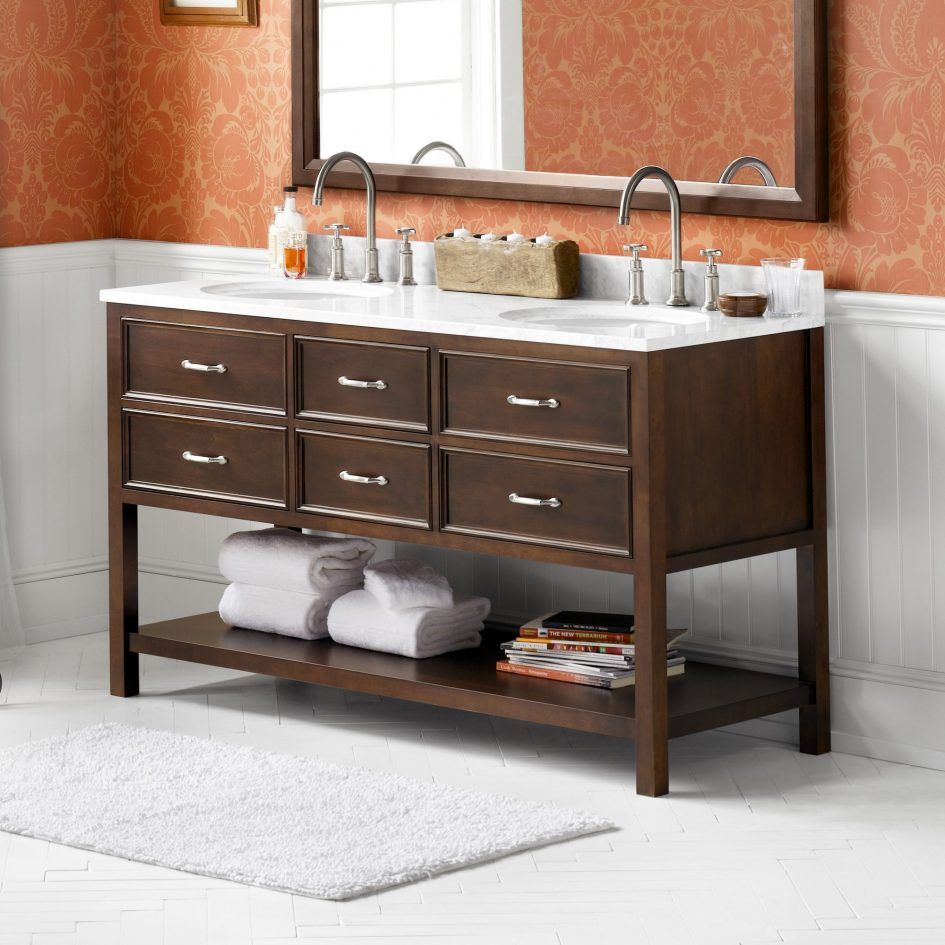 Bathroom Double Bathroom Vanities With A Traditional Style Display Of  Medium Size Drawers And A Few