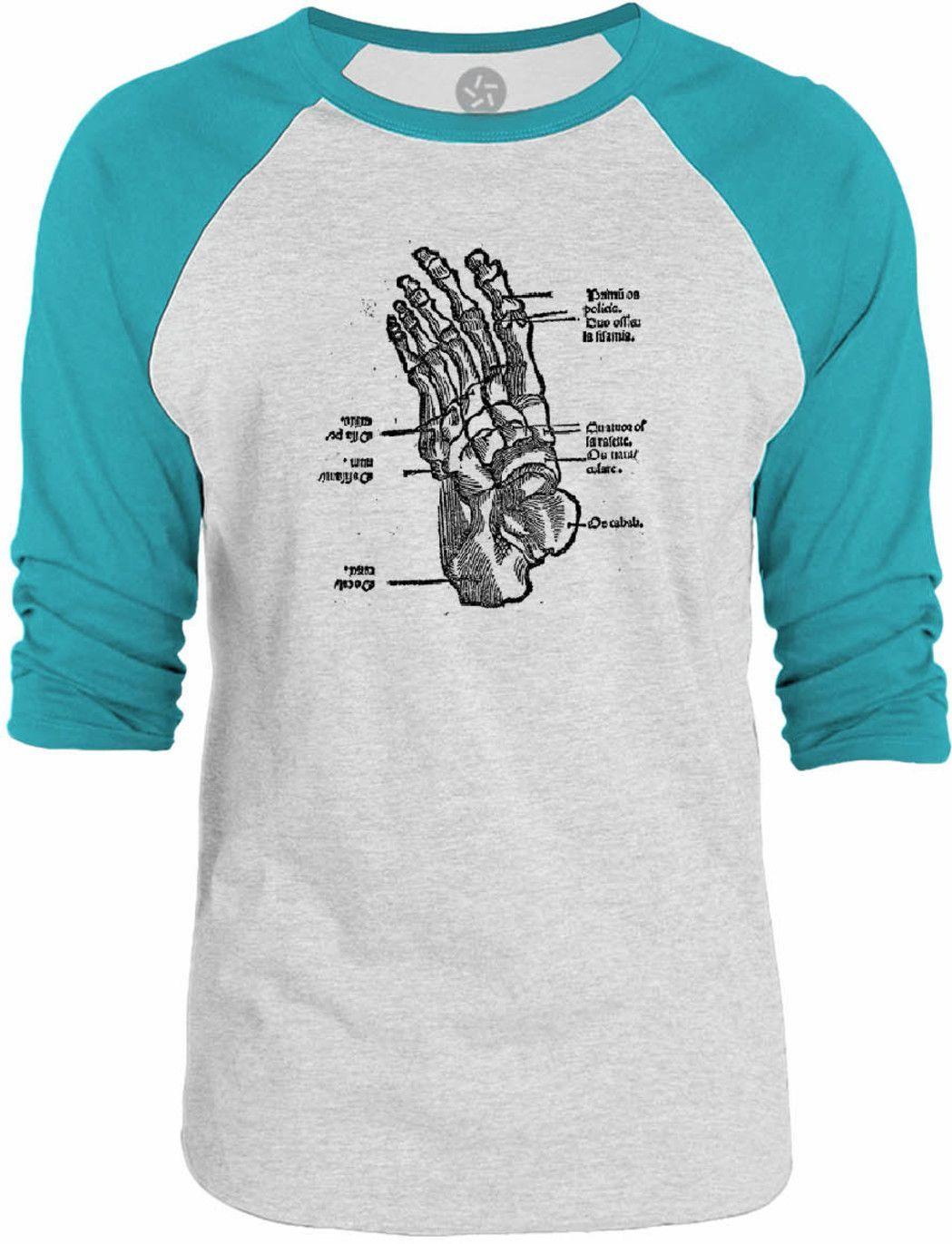 Big Texas Anatomy of the Foot 3/4-Sleeve Raglan Baseball T-Shirt ...