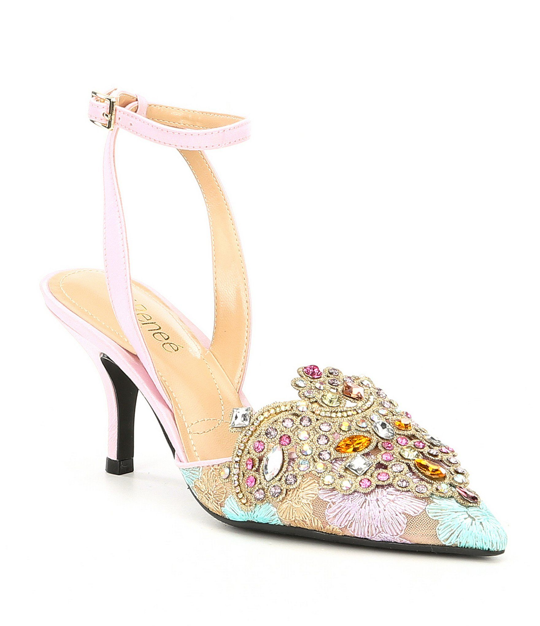 Desdemona Floral Mesh Multi Color Rhinestone Detail Ankle Strap Pumps