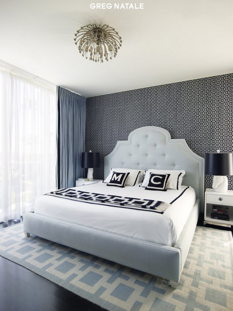 A Lovely Bed Room Featuring Monogram Pillows Monogrammed Pillow Cushions Black And White Gift