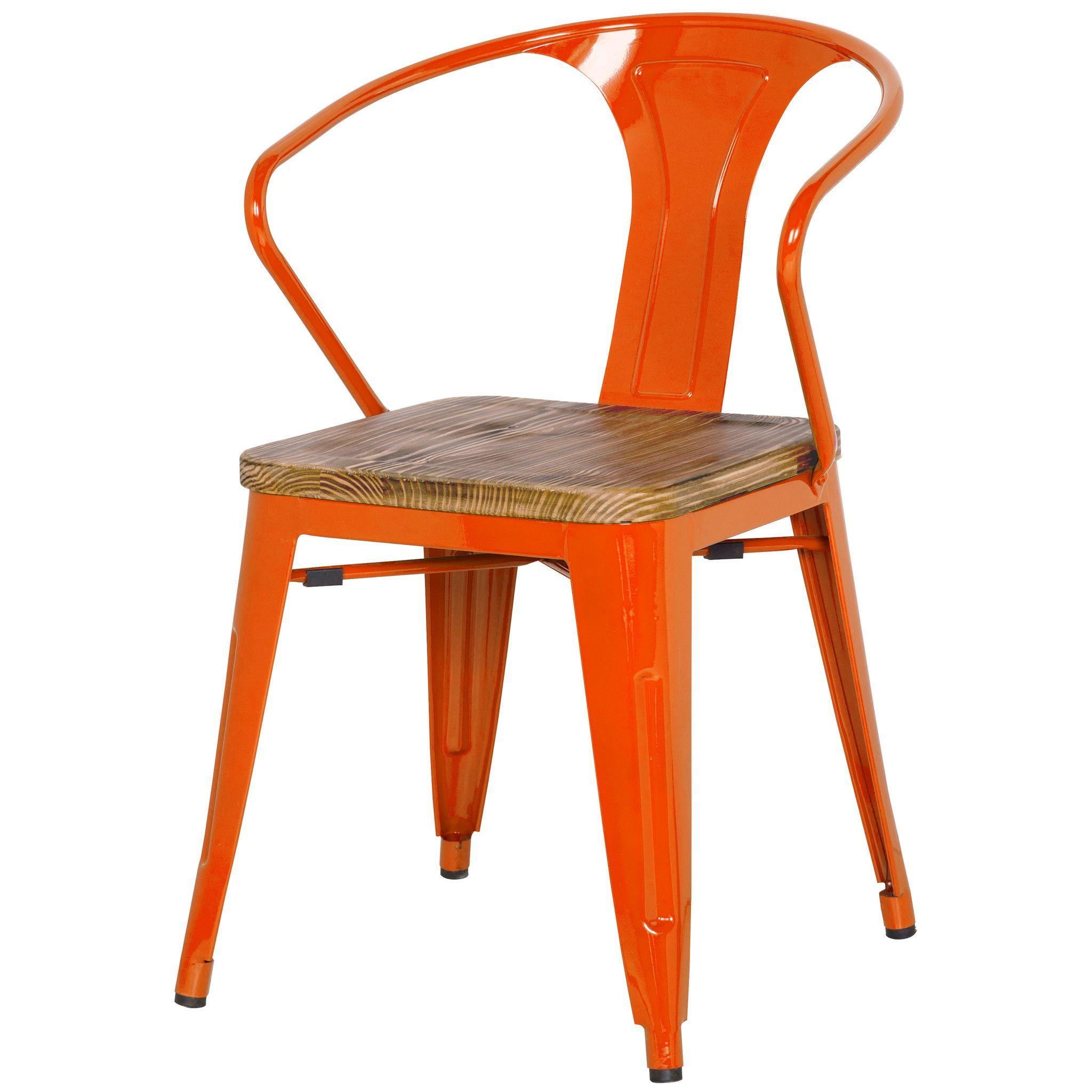 Metropolis Metal Arm Chair Wood Seat Orange Set Of 4