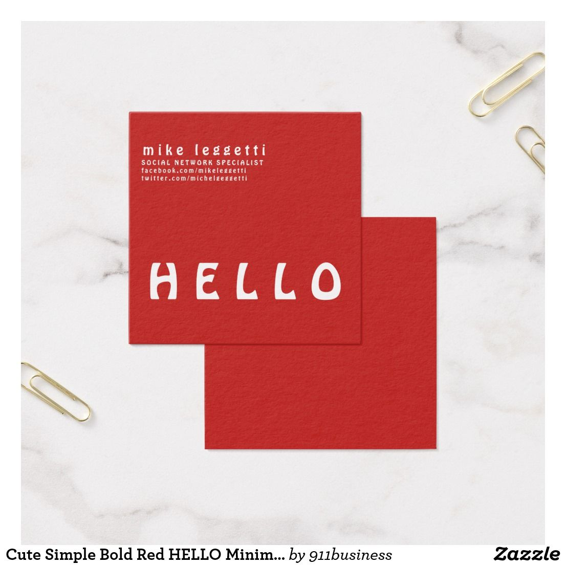 Unique business card design. Customize this Cute Simple Bold Red ...