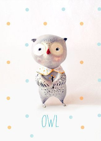 Paper Mache Owl By Paola Zakimi Canvas Art Kids Canvas