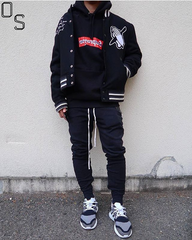 e27313ccad39a ...  OutfitSociety via  streetwearde Presents  mikeleroy boost and preme  Supreme  Jacket and Hoodie Fear of God Pants and Adidas Y3 ZG Pure Boost