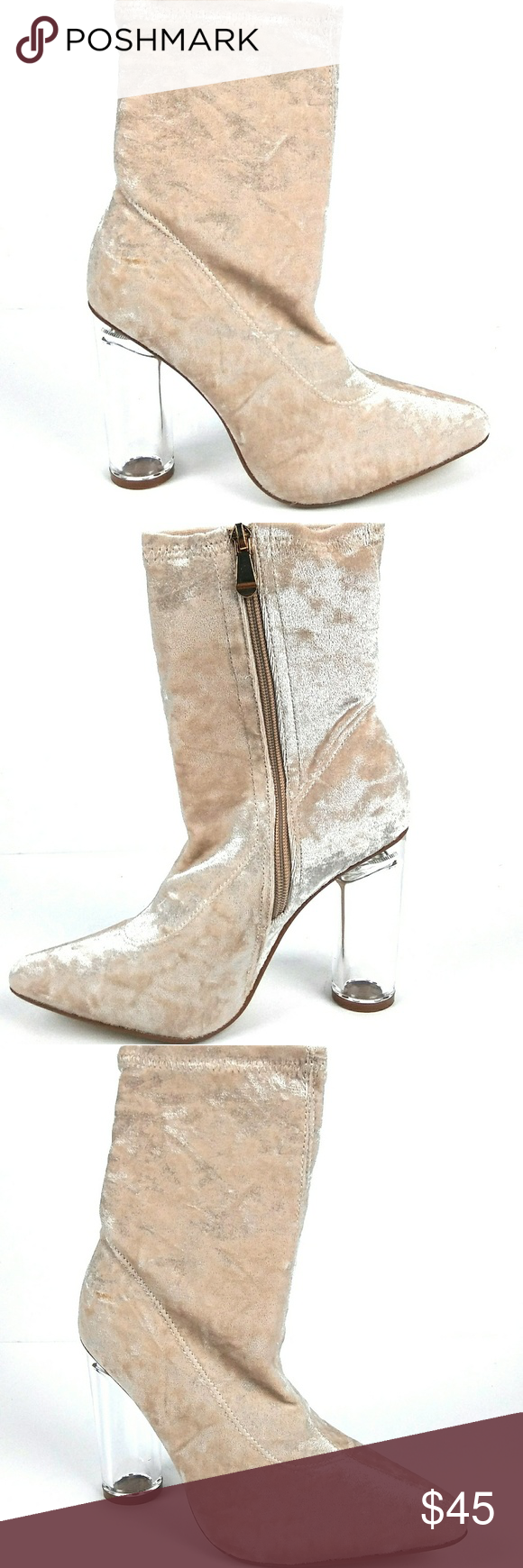 8a91ee42faa Nude Clear Chunky Heel Bootie New in box Super sexy Crushed Velvet Nude  color Clear chunky heel Heel Height  4in Shoes Ankle Boots   Booties