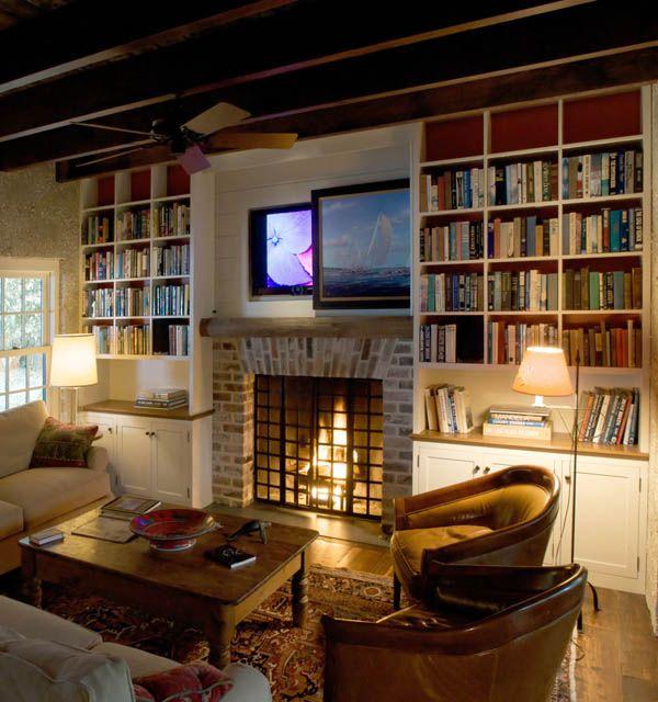 Spring Island Cottage Living Room Reclaimed wood floors antique