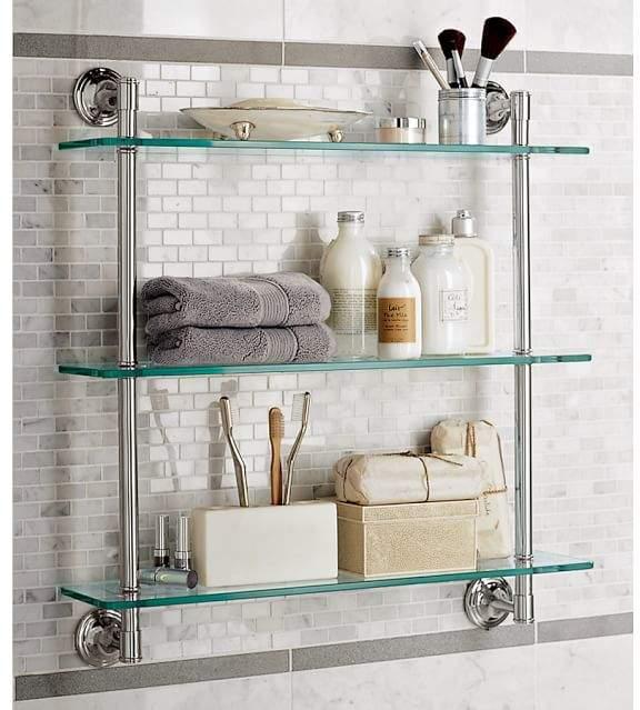 Mercer Triple Glass Shelf Bathroom Wall Shelves Glass Bathroom Shelves Bathroom Shelf Decor