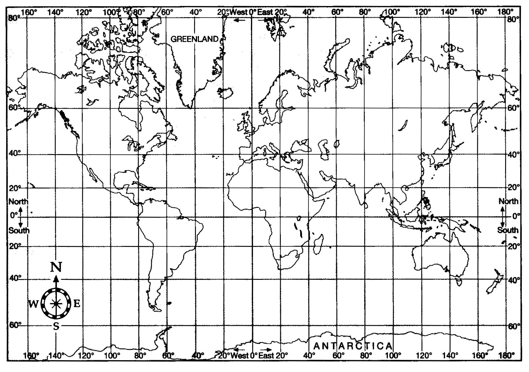 World Map With Longitude Latitude Lines Map Of Longitude World Map ...