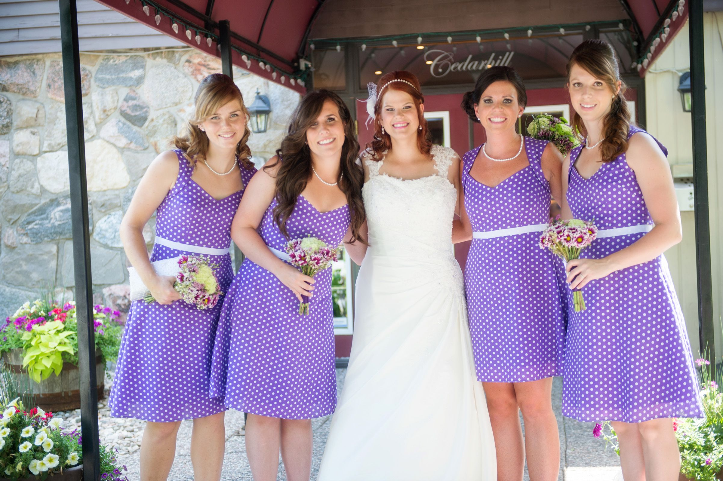 Natasha dresses with circular skirts in purple and white polka dots ...