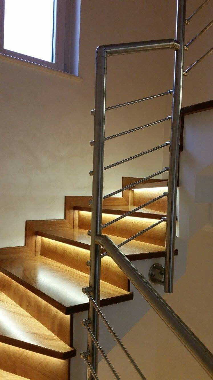 ringhiera scala interna acciaio inox e legno luci www