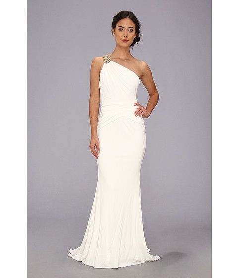 Badgley Mischka Drape One Shoulder Gown Oyster - Zappos.com Free Shipping BOTH Ways