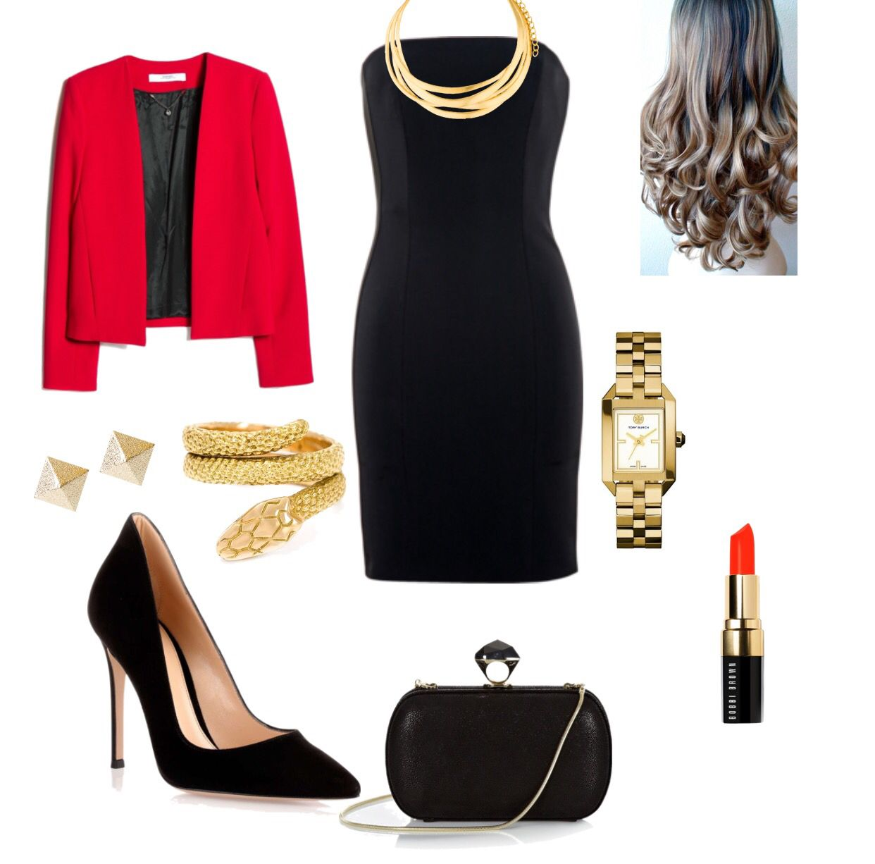 Black dress with red jacket