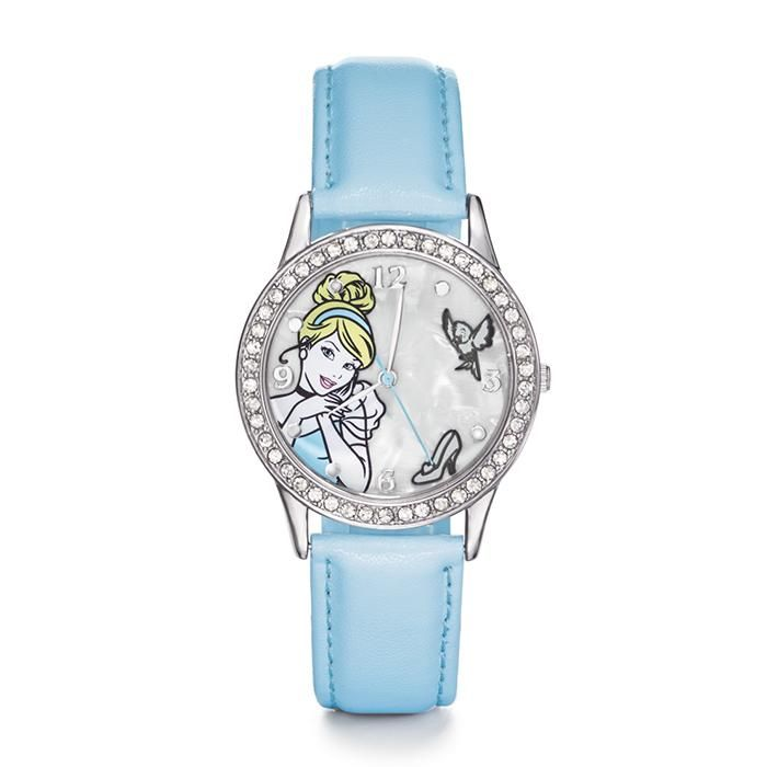 """Disney Cinderella Strap Watch. Silvertone case embellished with rhinestones. Leatherlike strap, 9"""" L. Shop and buy Avon jewelry products online at http://www.youravon.com/jennyhollenbeck"""