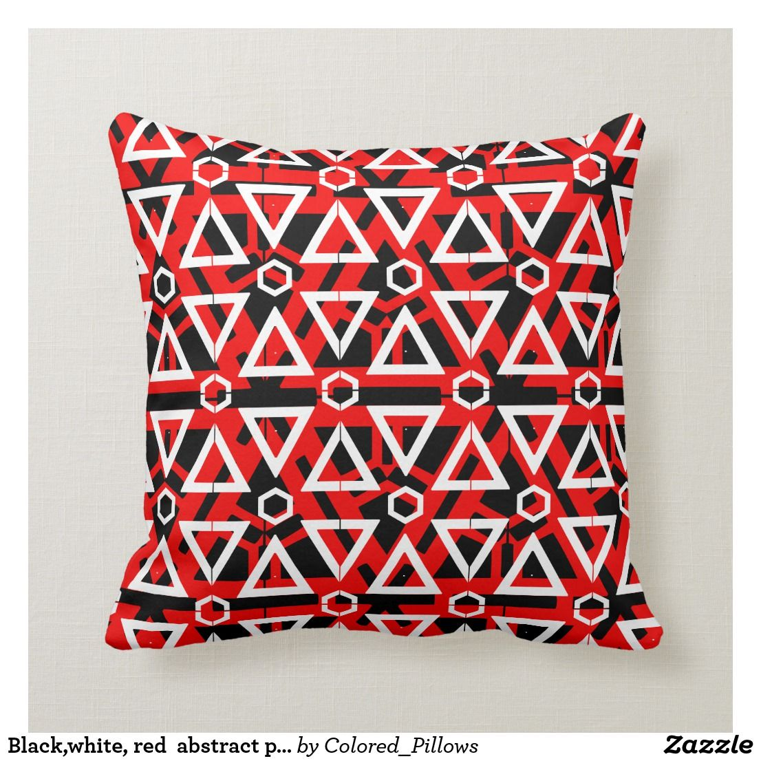 Black White Red Abstract Pattern Solid Back Throw Pillow Pillows Black Decorative Pillows Throw Pillows