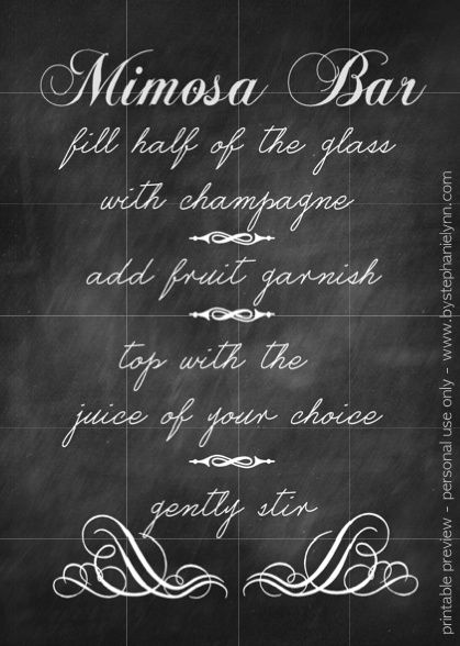 photograph regarding Mimosa Bar Sign Printable Free called Ecosystem Up a Mimosa Bar J H Mimosa bar, Mimosa get together