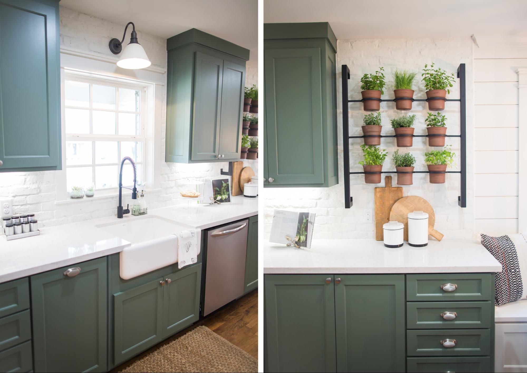 Green cabinets Fixer Upper Kitchen Pinterest