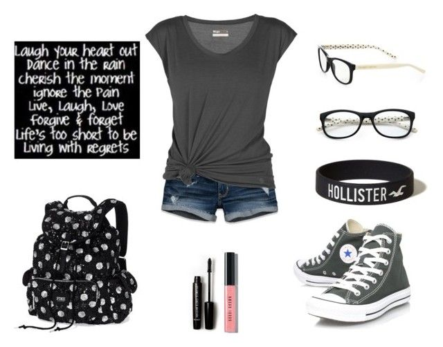 """""""Simple Style"""" by fluffykitteh ❤ liked on Polyvore featuring Hollister Co., Lija, Converse, Kate Spade, Victoria's Secret, Love 21 and Bobbi Brown Cosmetics"""