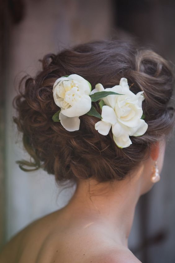 Curled And Braided Updo With Gardenia Flowers Romantic Wedding Hair Flowers In Hair Romantic Wedding Hair Updo
