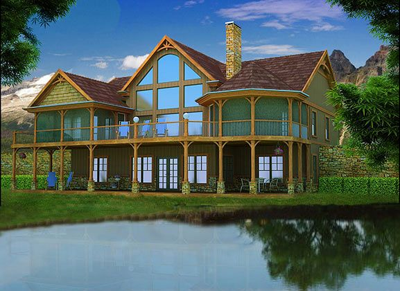 Mountain house with open floor plan by mountain house for Adirondack lake house plans