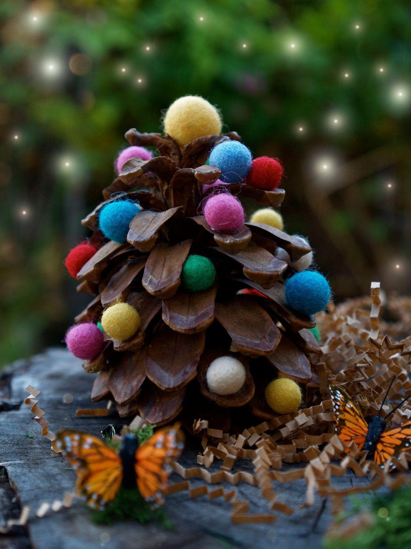 DIY Christmas Tree Kit, handmade Xmas Decoration, Waldorf Pine Cone and Felted Ball Tree - The Magic Onions Crafting Children. $25.00, via Etsy.