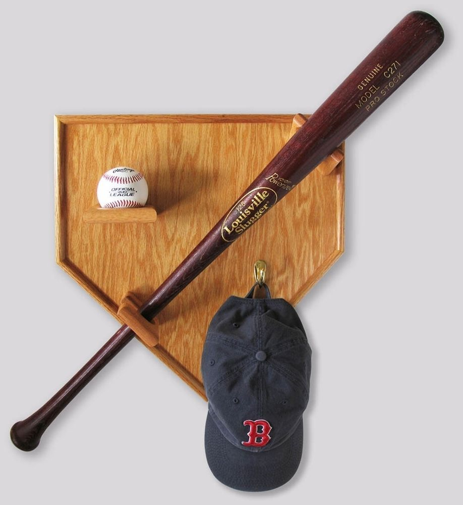 SPORTS HOME PLATE WOOD OAK BASEBALL BAT HAT CAP DISPLAY CASE FOR UNIFORM  JERSEY In Display