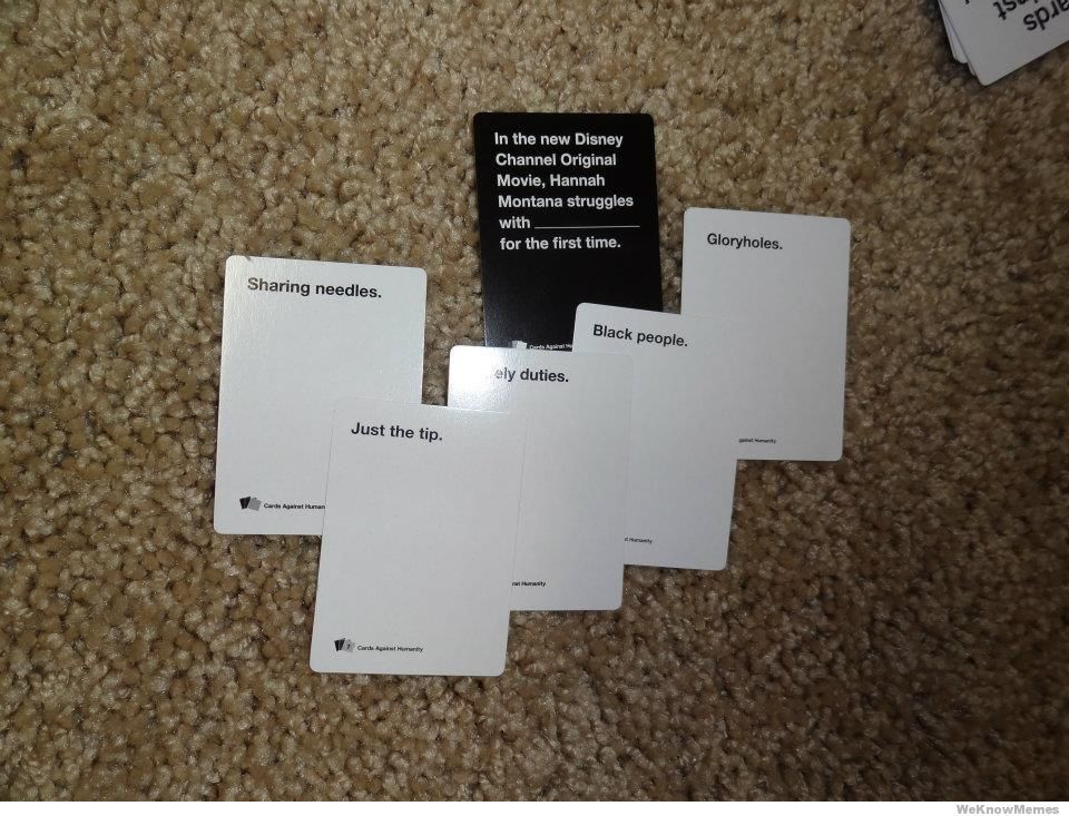 Cards Against Humanity, a very adult version of Apples to