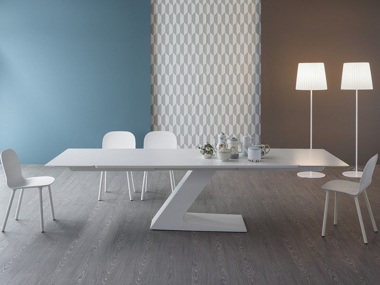 Meuble Salon Design Et Table Tl Rectangulaire En Blanc Laque Par