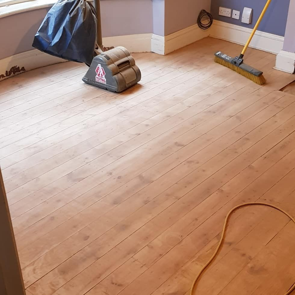 Hard work! Another job ticked off the list Front room now fully sanded and ready for painting, glossing and staining