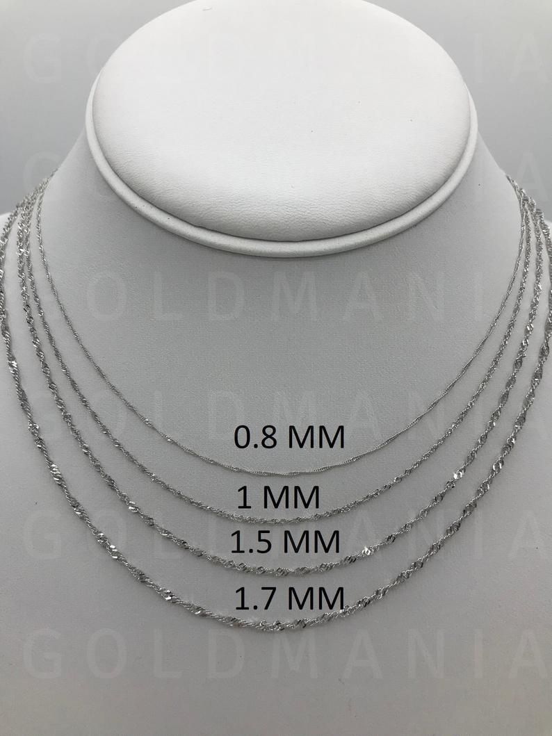 10k Solid White Gold Singapore Rope Chain Necklace 16 Etsy In 2021 White Gold Necklace Chain White Gold Chains Singapore Chain Necklace