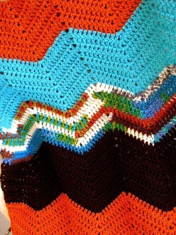 Easy Chevron Afghan Crochet pattern, Stashbuster PDF, leftover yarn ...