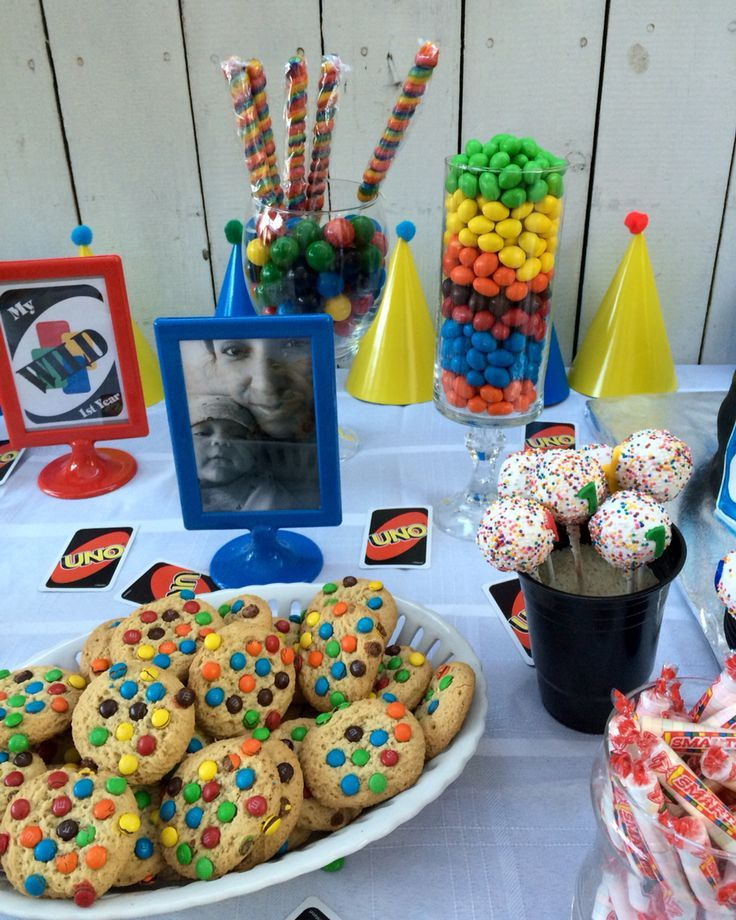 Uno Party Candy Bar Candy Table Cake Pops First Birthday Party Themes 1st Boy Birthday 1st Birthday Parties