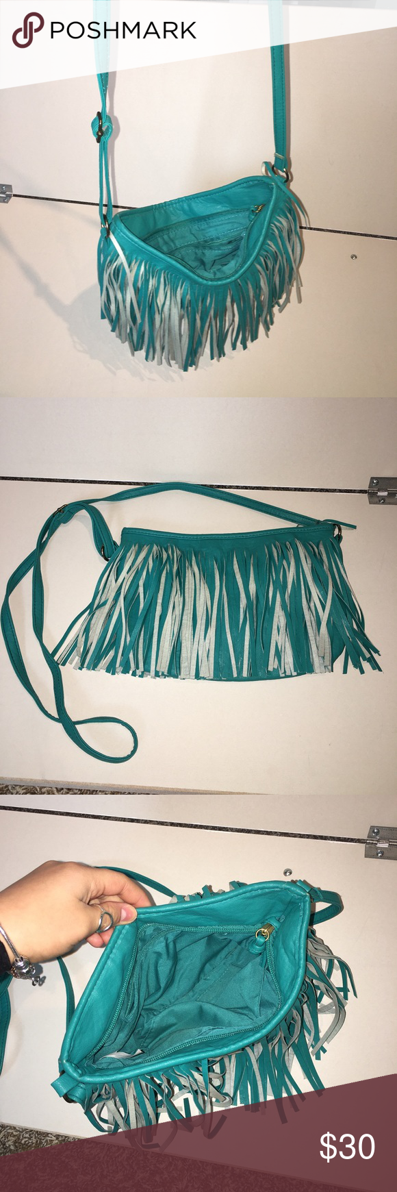 Boho teal shredded purse Teal shredded purse with cross body adjustable strap, bought from boutique Bags Shoulder Bags