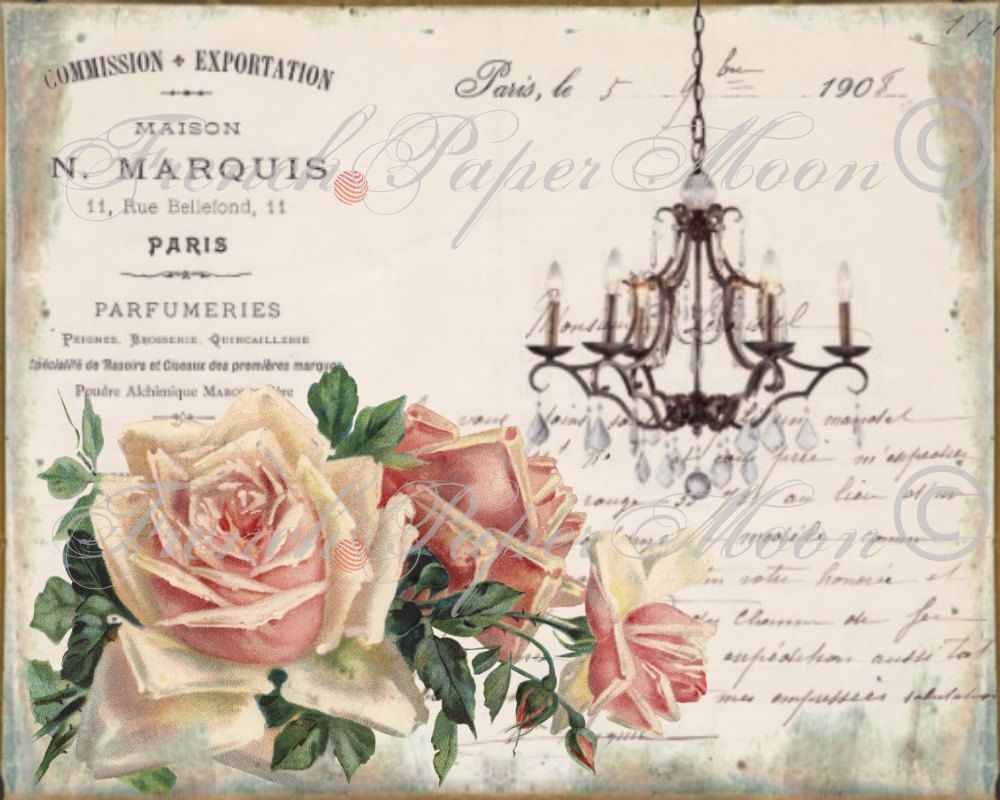 Vintage French Chandelier Graphic Typography Roses Digital Collage Sheet Download Printable graphic transfer by FrenchPaperMoon on Etsy