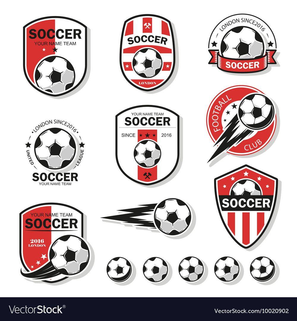 Set Of Football Logos Vector Image On Football Logo Soccer Logo Logos