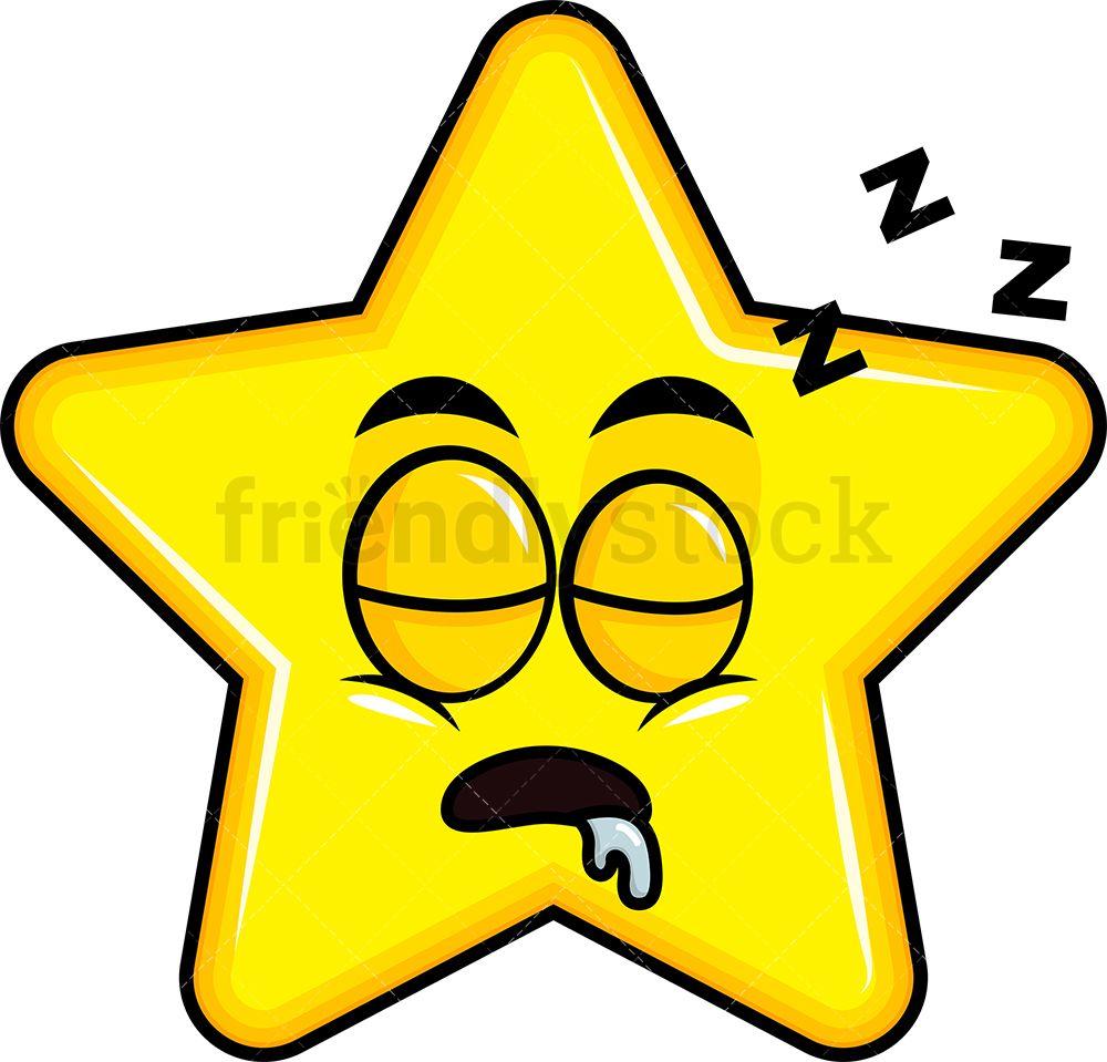 Sleeping Star Emoji Cartoon Clipart Vector Friendlystock In 2020 Star Emoji Cartoon Clip Art Emoji Clipart