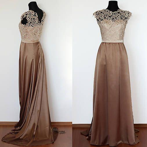 f9bc6b6e3454 Spoločenské šaty z hrubej krajky s vlečkou rôzne farby   Dyona ...