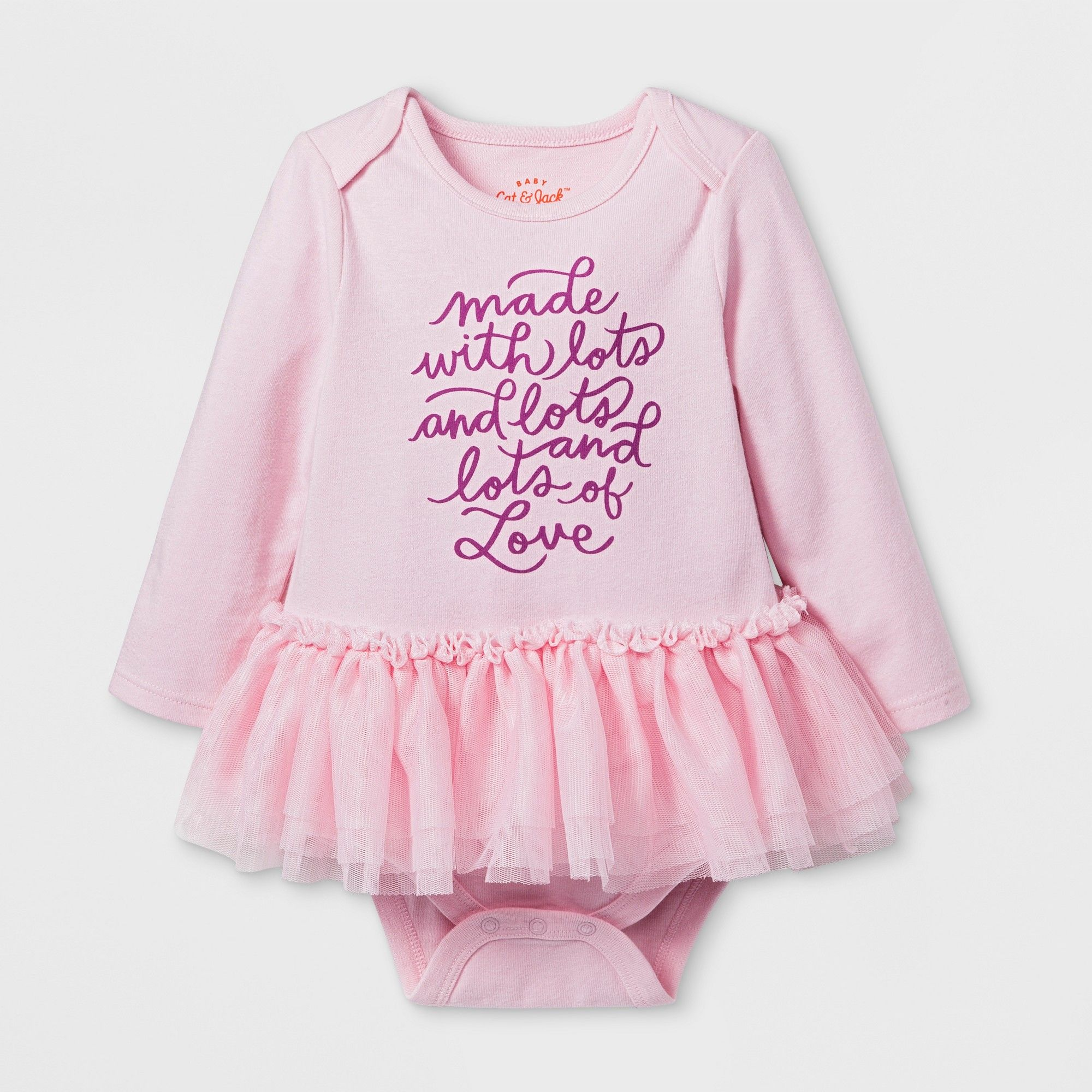 4e88d4db23 Baby Girls  Made With Love Long Sleeve Tutu Bodysuit - Cat Jack Woodrose  6-9M