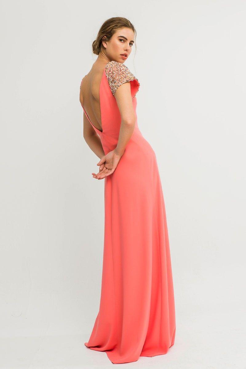 3b73c6d6e Vestido coral largo para invitada de boda madrina fiesta dama de honor  pedida de mano graduacion