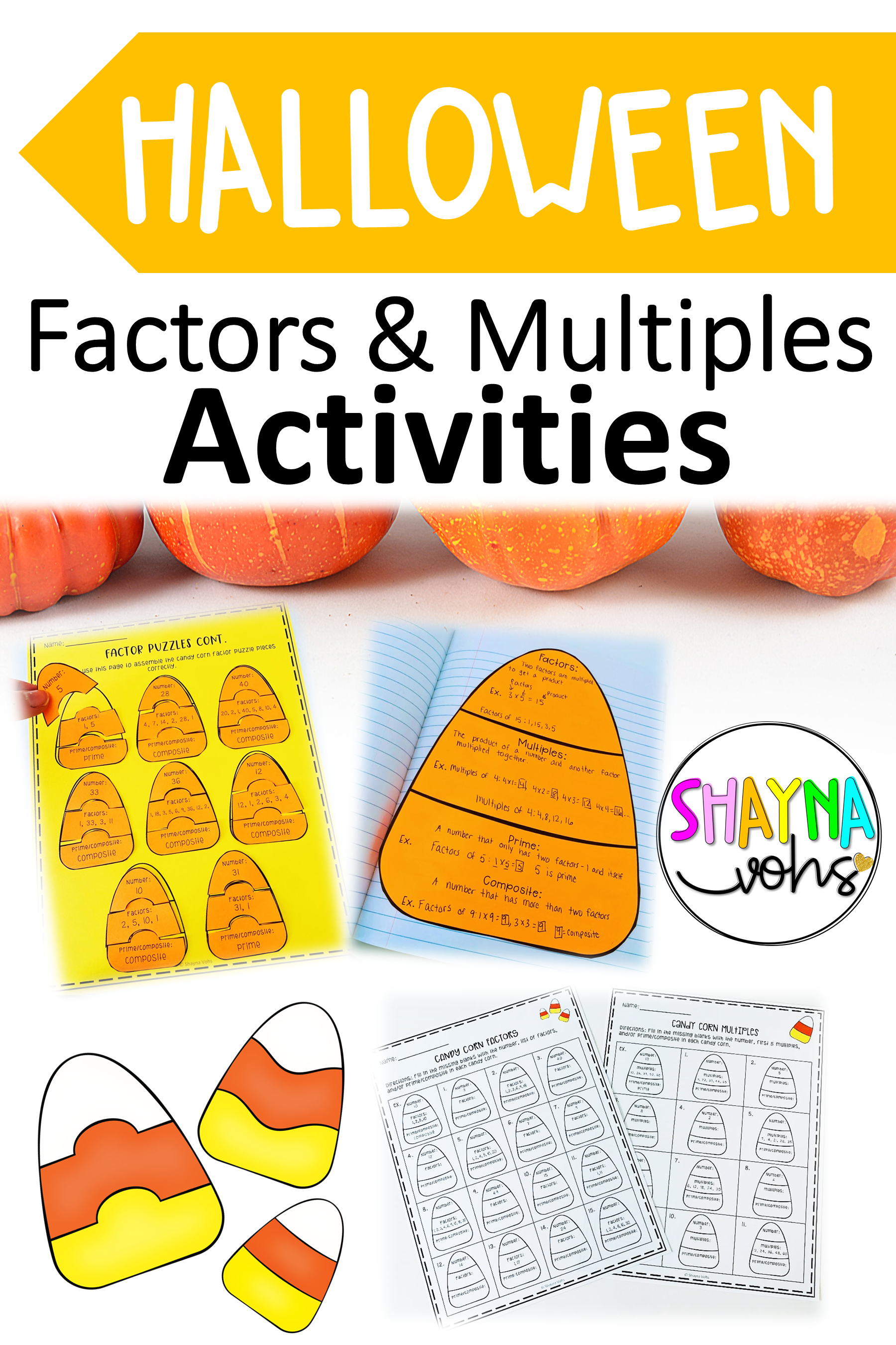 These Candy Corn Puzzles Are Perfect Halloween Math Activities And Worksheets Fo Factors And Multiples Halloween Classroom Activities Halloween Math Activities [ 2700 x 1800 Pixel ]