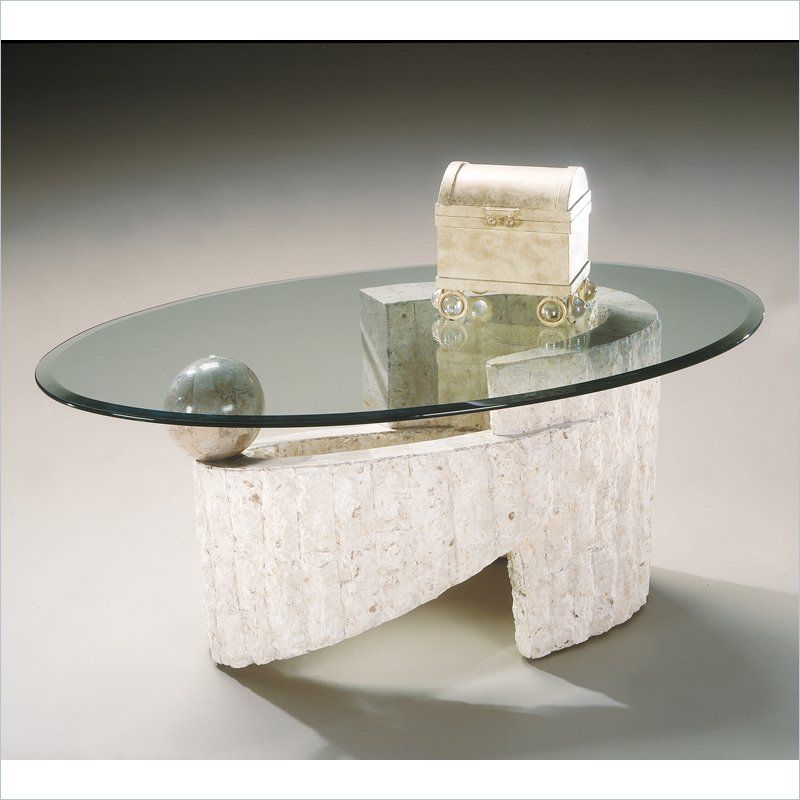 Magnussen Ponte Vedra Oval Glass Top Cocktail Table in Natural Top