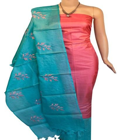 14952b01fb Churidar Material:- Top in Tussar Silk , Duppata in Tussar Silk and Bottom  in Cotton Silk (Un-stitched)