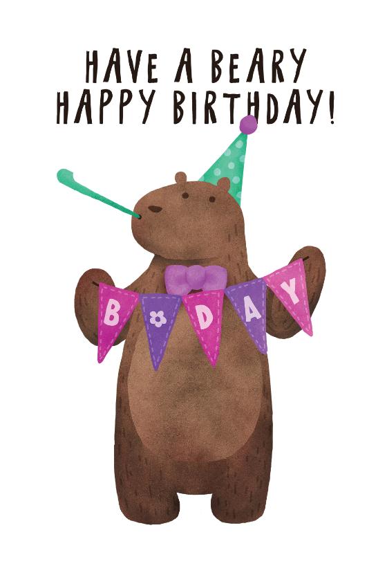 Bday Bear Birthday Card Free Greetings Island First Birthday Cards Bear Birthday Happy Birthday Bear