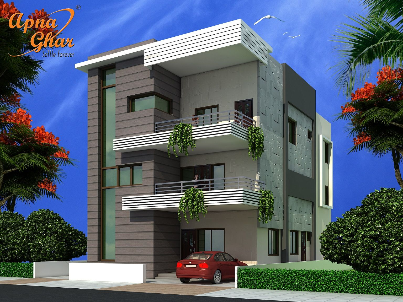 5 bedrooms triplex house design in 240m2 12m x 20m click for Home elevation front side